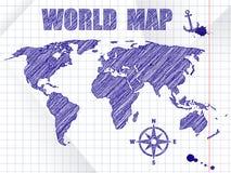 Παγκόσμιος χάρτης ναυσιπλοΐας μπλε μελανιού σκιαγραφημένος στο υπόβαθρο φύλλων σχολικών σημειωματάριων Στοκ εικόνες με δικαίωμα ελεύθερης χρήσης