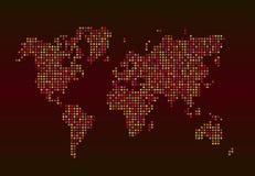 Παγκόσμιος χάρτης που αποτελείται από τα αστέρια σε ένα κόκκινο υπόβαθρο Στοκ εικόνα με δικαίωμα ελεύθερης χρήσης