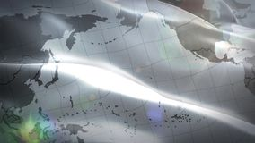 Παγκόσμιος χάρτης που κυματίζει την άσπρη σημαία απεικόνιση αποθεμάτων