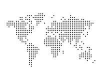 Παγκόσμιος χάρτης που σχεδιάζεται με τα σημεία, απλή μαύρη απεικόνιση απεικόνιση αποθεμάτων