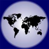 Παγκόσμιος χάρτης σε έναν μπλε κύκλο Στοκ φωτογραφία με δικαίωμα ελεύθερης χρήσης