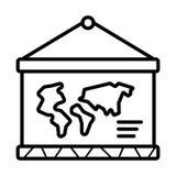 Παγκόσμιος χάρτης σε ένα σχολικό εικονίδιο ελεύθερη απεικόνιση δικαιώματος