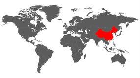 Παγκόσμιος χάρτης σε μονοχρωματικό με την Κίνα που επιλέγεται Στοκ φωτογραφία με δικαίωμα ελεύθερης χρήσης