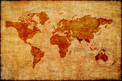 Παγκόσμιος χάρτης σε παλαιό χαρτί Στοκ Φωτογραφίες