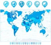 Παγκόσμιος χάρτης στα χρώματα των δεικτών μπλε και χαρτών Στοκ Φωτογραφίες