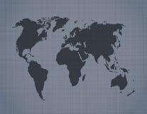 Παγκόσμιος χάρτης στην ανασκόπηση λινού Στοκ Φωτογραφία