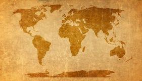 Παγκόσμιος χάρτης στην παλαιά σύσταση εγγράφου Στοκ φωτογραφία με δικαίωμα ελεύθερης χρήσης