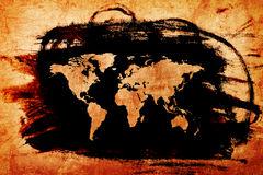 Παγκόσμιος χάρτης στην παλαιά σύσταση εγγράφου Grunge ελεύθερη απεικόνιση δικαιώματος