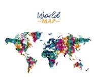Παγκόσμιος χάρτης στη γεωμετρική ζωηρόχρωμη σκιαγραφία μορφής απεικόνιση αποθεμάτων