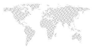 Παγκόσμιος χάρτης στις τεμνόμενες γραμμές μορφής Στοκ Φωτογραφία