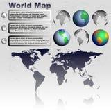 Παγκόσμιος χάρτης στο γκρίζο διάνυσμα υποβάθρου Στοκ Εικόνα