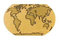 Παγκόσμιος χάρτης στο ζαρωμένο χαρτόνι Στοκ φωτογραφίες με δικαίωμα ελεύθερης χρήσης