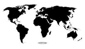 Παγκόσμιος χάρτης στο Μαύρο σε ένα άσπρο υπόβαθρο διανυσματική απεικόνιση