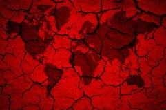 Παγκόσμιος χάρτης στο ραγισμένο κόκκινο υπόβαθρο διανυσματική απεικόνιση