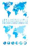 Παγκόσμιος χάρτης, σφαίρες, ήπειροι και εικονίδια ναυσιπλοΐας διανυσματική απεικόνιση
