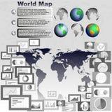 Παγκόσμιος χάρτης σφαιρών, επίπεδη γραφική παράσταση σχεδίου και διαγράμματα Στοκ φωτογραφία με δικαίωμα ελεύθερης χρήσης