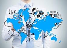 Παγκόσμιος χάρτης σχεδίων επιχειρηματιών Στοκ Εικόνα