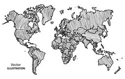 Παγκόσμιος χάρτης σχεδίων χεριών με τις χώρες Στοκ εικόνες με δικαίωμα ελεύθερης χρήσης