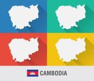 Παγκόσμιος χάρτης της Καμπότζης στο επίπεδο ύφος με 4 χρώματα Στοκ εικόνα με δικαίωμα ελεύθερης χρήσης