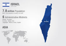 Παγκόσμιος χάρτης του Ισραήλ με μια σύσταση διαμαντιών εικονοκυττάρου διανυσματική απεικόνιση