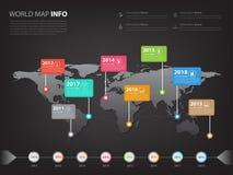 Παγκόσμιος χάρτης infographic για την επιχειρησιακά παρουσίαση και το slidesho Στοκ Φωτογραφίες