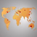 Παγκόσμιος χάρτης Watercolor, διανυσματική απεικόνιση Καρδιά Στοκ φωτογραφία με δικαίωμα ελεύθερης χρήσης
