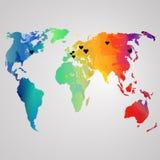 Παγκόσμιος χάρτης Watercolor, διανυσματική απεικόνιση Ουράνιο τόξο Στοκ Φωτογραφία
