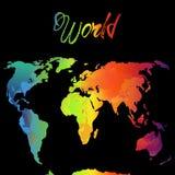 Παγκόσμιος χάρτης Watercolor, διανυσματική απεικόνιση Ουράνιο τόξο Στοκ εικόνα με δικαίωμα ελεύθερης χρήσης