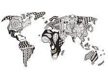 Παγκόσμιος χάρτης zentangle τυποποιημένος, διανυσματικός, απεικόνιση, ελεύθερη μάνδρα διανυσματική απεικόνιση