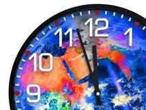 Παγκόσμιος χρόνος Ημέρα της Κρίσεως 23 57 ώρες/στοιχεία αυτής της εικόνας που εφοδιάζεται από τη NASA Στοκ Φωτογραφία