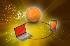 Παγκόσμιο δίκτυο και έννοια επικοινωνίας Διαδικτύου Στοκ Εικόνες