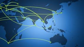 Παγκόσμιο δίκτυο, ταξίδι, επικοινωνίες απεικόνιση αποθεμάτων