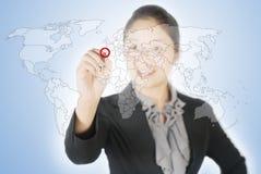 παγκόσμιο γράψιμο γυναικών οθόνης επιχειρησιακών χαρτών Στοκ εικόνες με δικαίωμα ελεύθερης χρήσης