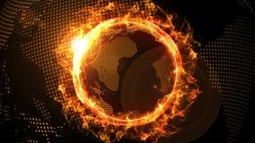 Παγκόσμιο παγκόσμιο δίκτυο πέρα από τη γη με την αντίπαλη πυρκαγιά επιχείρησης Ζωτικότητα βρόχων CG απεικόνιση αποθεμάτων