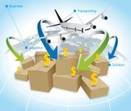 Παγκόσμιο επιχειρηματικό πεδίο διοικητικών μεριμνών Στοκ Εικόνες