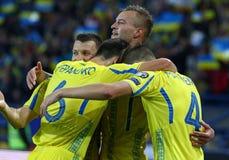 Παγκόσμιο Κύπελλο 2018 Ουκρανία εναντίον της Τουρκίας σε Kharkiv, Ουκρανία της FIFA στοκ φωτογραφίες