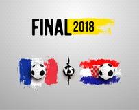 Παγκόσμιο Κύπελλο 2018 ποδοσφαίρου τελικός Σύνολο ρεαλιστικής σφαίρας ποδοσφαίρου στη σημαία της Γαλλίας εναντίον της Κροατίας, φ απεικόνιση αποθεμάτων