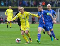 Παγκόσμιο Κύπελλο 2018 που είναι κατάλληλο: Ισλανδία β Ουκρανία στο Ρέικιαβικ Στοκ Φωτογραφία
