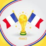 Παγκόσμιο Κύπελλο 2018 πρωτοπόρων ποδοσφαίρου της Γαλλίας - σημαία και χρυσό τρόπαιο απεικόνιση αποθεμάτων