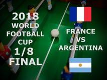Παγκόσμιο Κύπελλο Ρωσία 2018, αγώνας της FIFA ποδοσφαίρου πρωτάθλημα τελικός Ένας όγδοος του φλυτζανιού Αντιστοιχία Γαλλία εναντί στοκ φωτογραφία