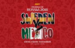 Παγκόσμιο Κύπελλο Ρωσία 2018 Grup φ Σουηδία εναντίον του Μεξικού διανυσματική απεικόνιση