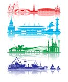 Παγκόσμιο Κύπελλο 2018 σκιαγραφιών ορόσημων πόλεων διανυσματική απεικόνιση