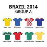 Παγκόσμιο Κύπελλο Βραζιλία 2014 - ομαδοποιήστε το ποδόσφαιρο ομάδων Α jerseys Στοκ φωτογραφία με δικαίωμα ελεύθερης χρήσης