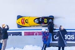 Παγκόσμιο Κύπελλο Κάλγκαρι Καναδάς 2014 Bobsleigh Στοκ Εικόνες