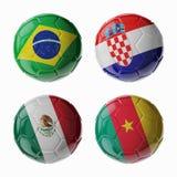 Παγκόσμιο Κύπελλο 2014 ποδοσφαίρου. Ομάδα Α. Football/σφαίρες ποδοσφαίρου. Στοκ Εικόνα