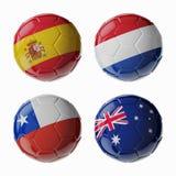 Παγκόσμιο Κύπελλο 2014 ποδοσφαίρου. Ομάδα Β. Football/σφαίρες ποδοσφαίρου. Στοκ Εικόνες