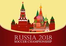 Παγκόσμιο Κύπελλο της Ρωσίας 2018 Έμβλημα ποδοσφαίρου Διανυσματική επίπεδη απεικόνιση αθλητισμός Εικόνα του καθεδρικού ναού βασιλ Στοκ Φωτογραφία