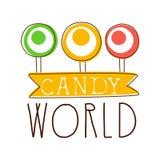Παγκόσμιο λογότυπο καραμελών Γλυκό έμβλημα αρτοποιείων Ζωηρόχρωμη συρμένη χέρι ετικέτα Στοκ φωτογραφίες με δικαίωμα ελεύθερης χρήσης