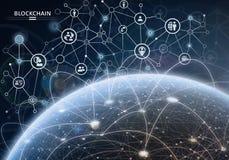 Παγκόσμιο οικονομικό δίκτυο Έννοια κρυπτογράφησης Blockchain