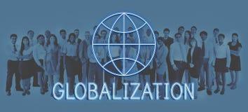 Παγκόσμιο παγκόσμιο επιχειρηματικό πεδίο που εμπορεύεται τη γραφική έννοια εικονιδίων Στοκ Φωτογραφίες